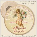 Кръгли Дървени Магнити с Тема Ангелчета :: Подаръци за Кръщене  #08-3