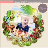 Кръгли Фото Магнити с Детски Снимки и Дизайн ДИНОЗАВРИ №: 01-1