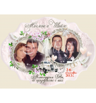 Сватбена тема Пролет с Две снимки :: Сватбени магнити, винтидж форма 01-3