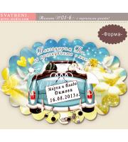 """Магнити  """"Сватбена Кола"""" :: Подарък за гостите, елипсовидни магнити  #01-6"""