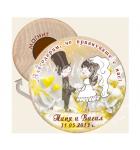 Младоженци Туни - Слънчеви Цветя :: Сватбени подаръци - Магнити от Дърво #08-3