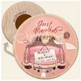 """Младоженци Just Married"" :: Магнити от Дърво #08-3"