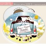Кола с Младоженци :: Магнити, сватбени сувенири #09-3